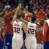 Apr 21, 2014; Los Angeles, CA, USA; The Los Angeles Clippers huddle before the third quarter against the Golden State Warriors in game two during the first round of the 2014 NBA Playoffs at Staples Center. Mandatory Credit: Richard Mackson-USA TODAY Sports