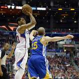 Apr 21, 2014; Los Angeles, CA, USA; Los Angeles Clippers forward Danny Granger (33) shoots against Golden State Warriors guard Steve Blake (25) during the fourth quarter in game two during the first round of the 2014 NBA Playoffs at Staples Center. Mandatory Credit: Richard Mackson-USA TODAY Sports