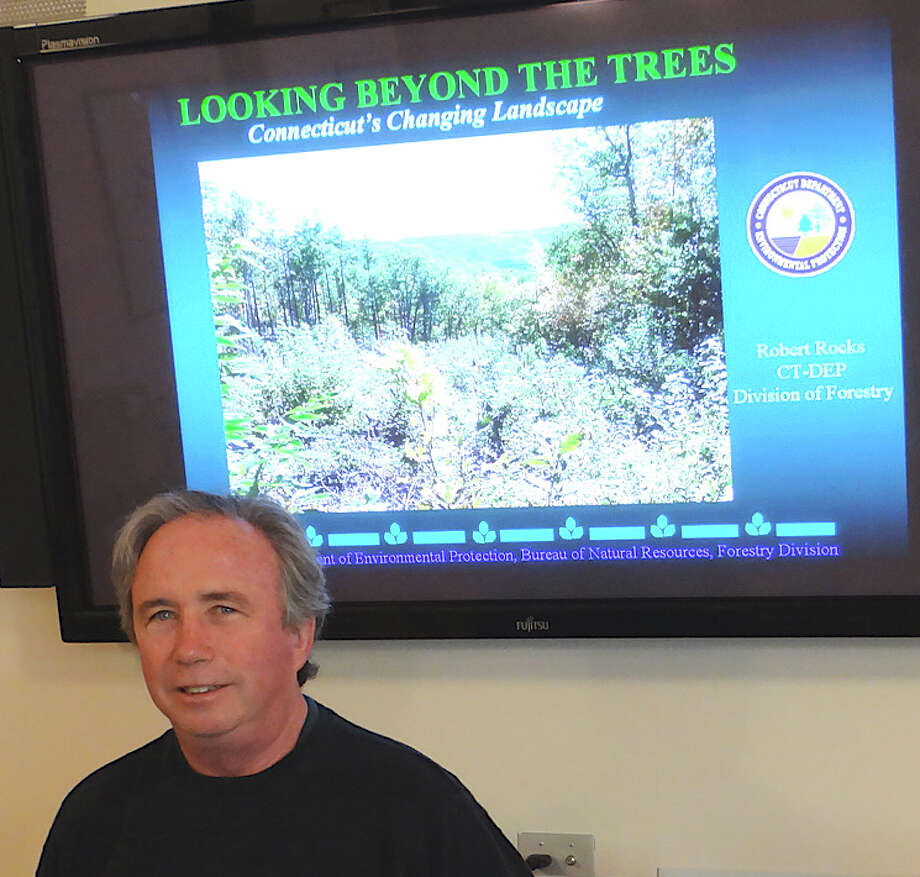 Chris Donnelly, the state's urban forestry coordinator, at a community forum on trees Saturday at the Connecticut Audubon Center. Photo: Mike Lauterborn / Fairfield Citizen