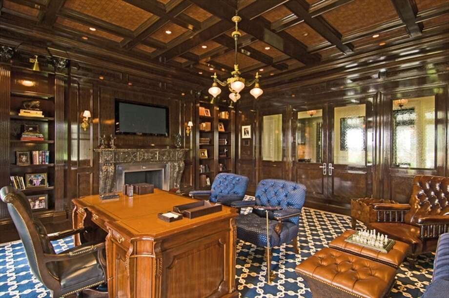 The walnut-paneled study/library Photo: The Corcoran Group