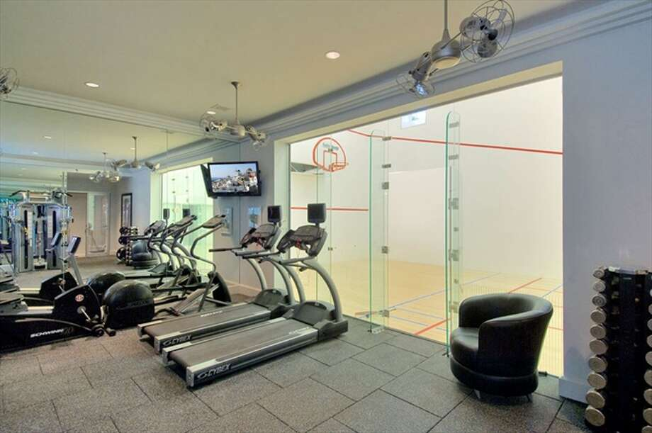 The gym with basketball/squash court Photo: The Corcoran Group
