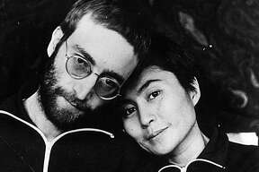January 1970: John Lennon (1940 - 1980) with his wife Yoko Ono the first time he was photographed with short hair since his hippie days..