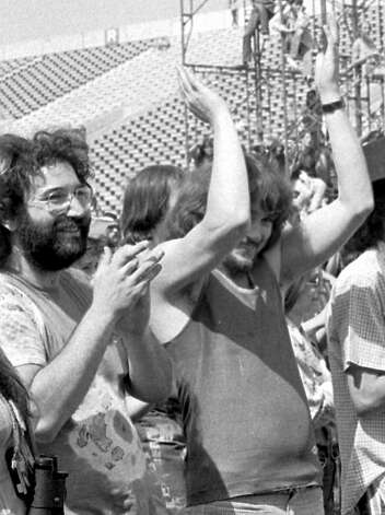 """In this July 2, 1970, file photo, guitarist Jerry Garcia, of the band """"The Grateful Dead,"""" left, is joined by Delaney Bramlett, right, in Calgary, Canada, during the legendary """"Festival Express,"""" also known as the Transcontinental Pop Festival. Recollections of the concert have resurfaced in recent years, with some saying they remember a concert being planned, but it being canceled. Arnold writes on his blog that even a Grateful Dead manager remembered the show to have happened. """"Various student memories arise, as they always do with the Dead, like that the Dead's equipment truck was driving by and they saw the Clam Jam going on and decided to just play,"""" said Arnold. """"Many colleges and town(s) have these stories, almost all, but not quite all, are not true."""" Arnold notes that Rick Adams, the drummer of Goodhill, a band that was set to perform at the show, remembered the show being cancelled. """"Because the Fairfield show was on every list through 2010, until I poked a hole in it, everyone assumes it happened, when it fact it appears it did not,"""" added Arnold. Photo: Ron """"Sunshine"""" Mastrion, AP"""