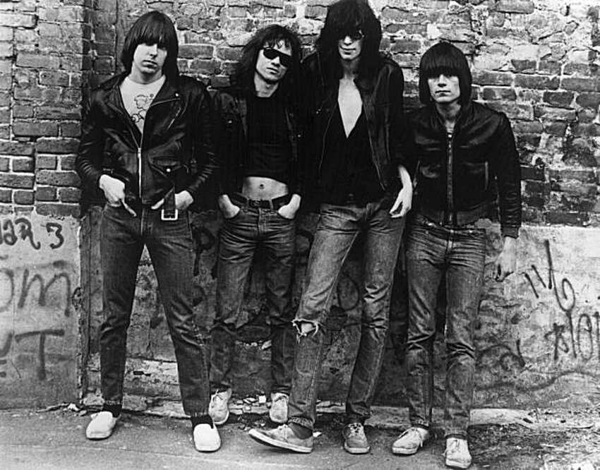 American punk rock group The Ramones. Left to right: Johnny Ramone (1948 - 2004) Tommy Ramone, Joey Ramone (1951 - 2001) and Dee Dee Ramone (1952 - 2002)..