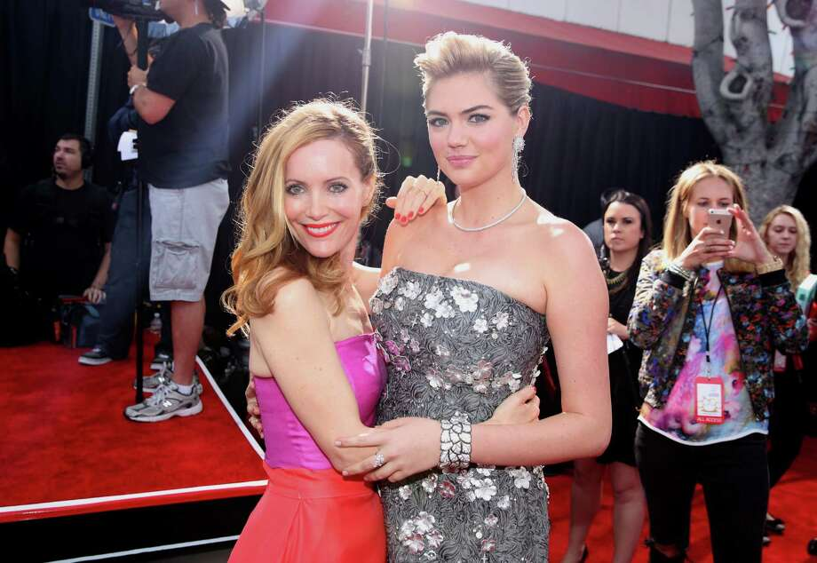"Leslie Mann, left, and Kate Upton arrive at the Los Angeles premiere of ""The Other Woman"" at the Regency Village Westwood on Monday, April 21, 2014. Photo: Matt Sayles, AP / AP2014"