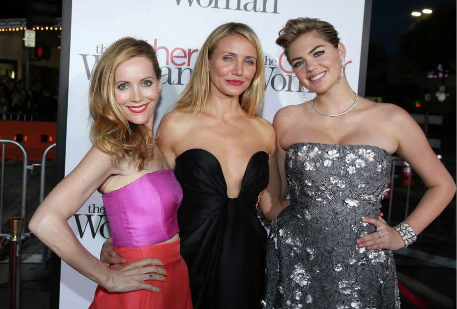"Leslie Mann and from left, Cameron Diaz and Kate Upton arrive at the Los Angeles premiere of ""The Other Woman"" at the Regency Village Westwood on Monday, April 21, 2014. Photo: Matt Sayles, AP / AP2014"