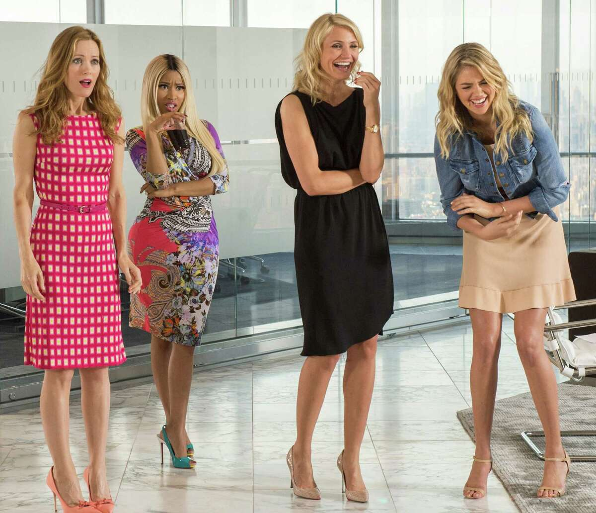 This image released by 20th Century Fox shows Leslie Mann, from left, Nicki Minaj, Cameron Diaz and Kate Upton in a scene from