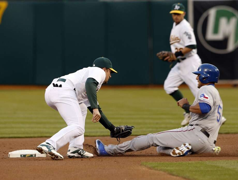 Alex Rios of the Rangers caught stealing in the first inning. The Oakland Athletics played the Texas Rangers at O.co Coliseum in Oakland, Calif., on Monday, April 21, 2014. Photo: Carlos Avila Gonzalez, The Chronicle