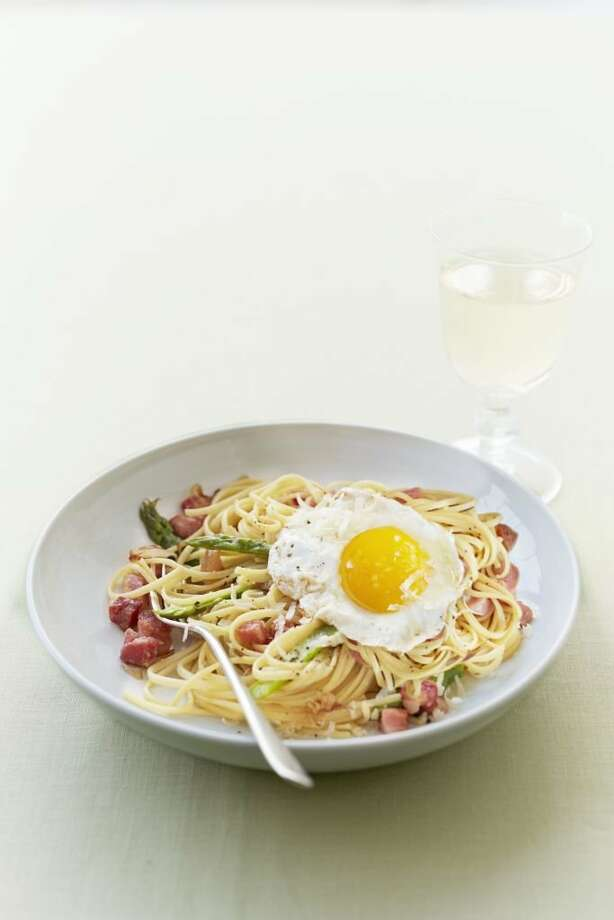 Linguine with Asparagus and Egg, from Good Housekeeping. Photo: Con Poulos