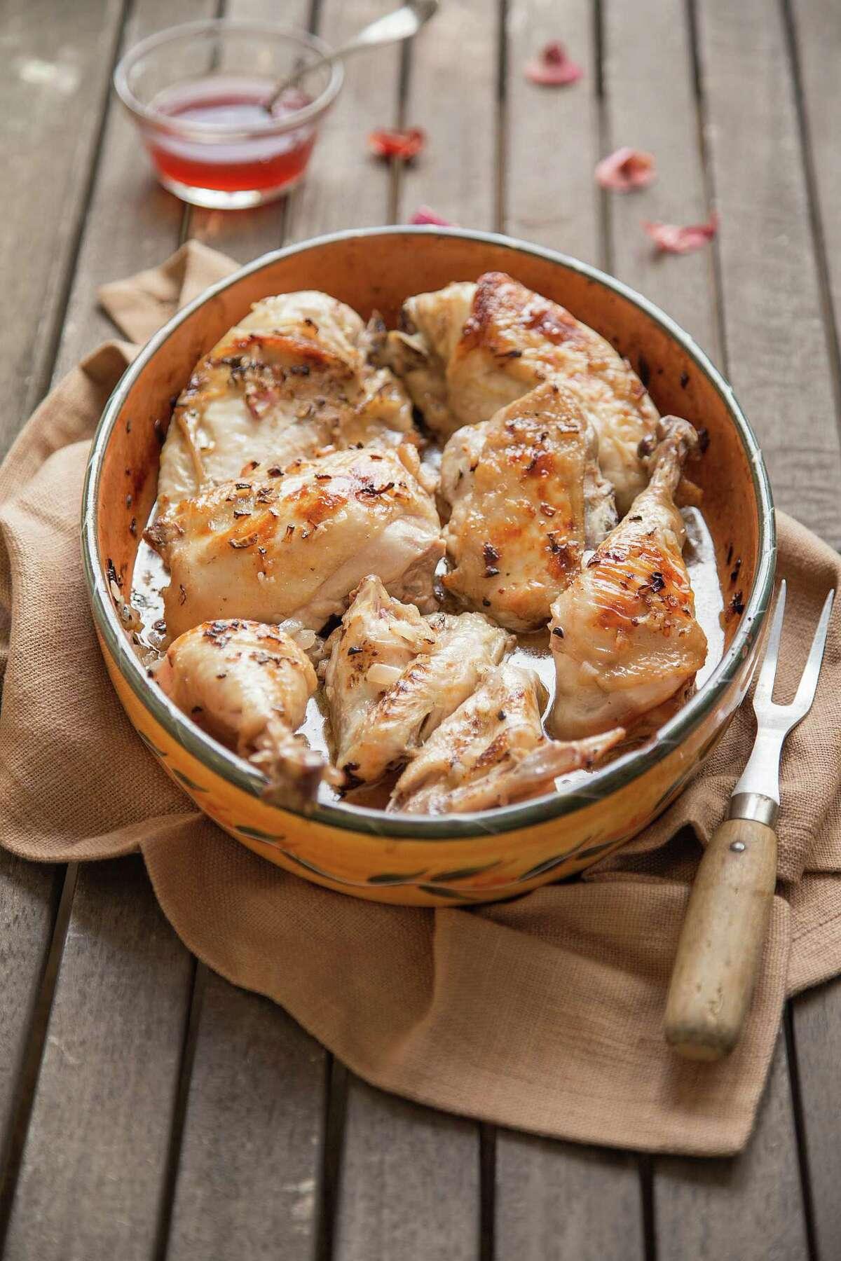 "Vinegar and Shallot Chicken from ""The Slim Palate Paleo Cookbook,"" by Joshua Weissman. Below, Chicken Korma."