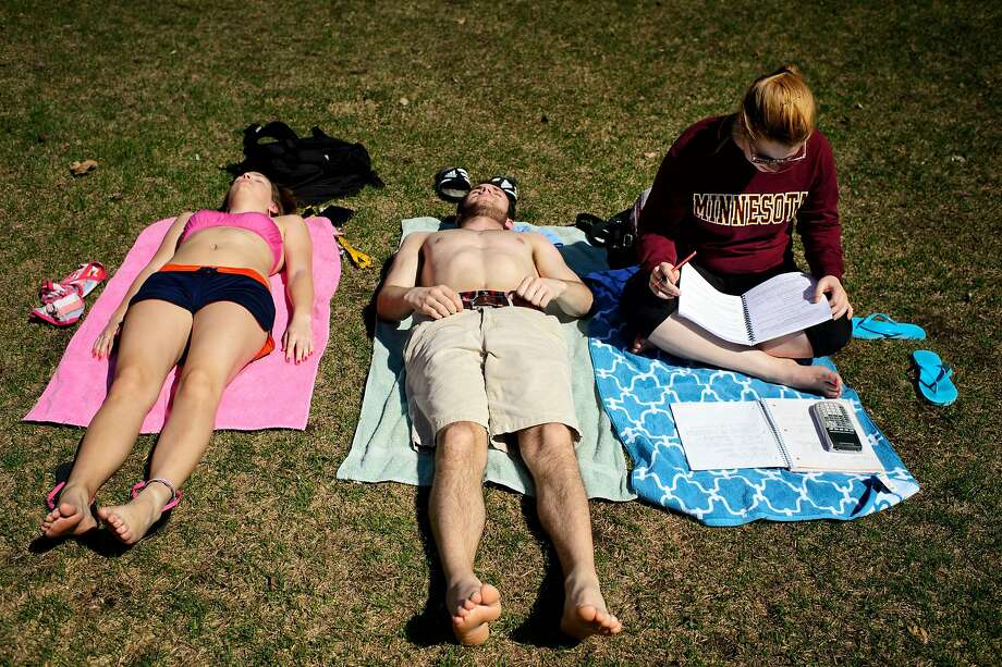 Golden Gophers go for the bronze: Except for freshman Lindsay Eggleston, that is. She appears to be the only one studying for finals at the University of Minnesota in Minneapolis. Photo: Glen Stubbe, Associated Press