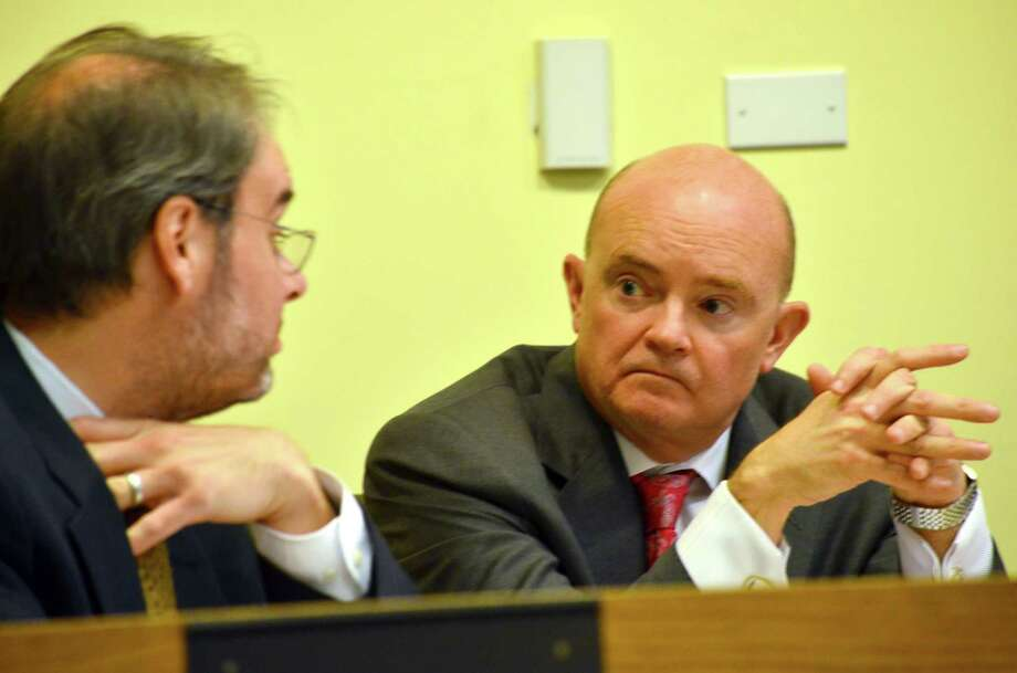 Town Administrator Karl Kilduff, at left, explained several concerns that the Parking Authority must address to Selectman Reilly Tierney. Photo: Megan Spicer / Darien News