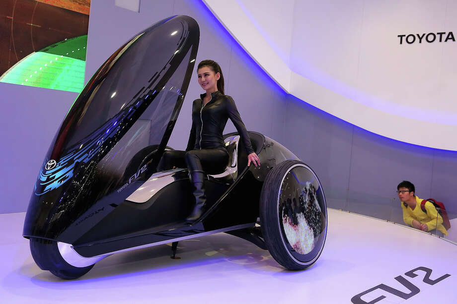A model performs on the Toyota FV2 concept car during the 2014 Beijing International Automotive Exhibition at China International Exhibition Center on April 21, 2014 in Beijing, China. More than 2,000 automotive enterprises from 14 countries and regions participated in the 2014 Beijing International Automotive Exhibition from April 20 to April 29.  Photo: Feng Li, Wire Images / 2014 Getty Images