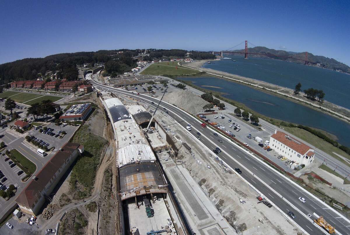 Construction on the tunnels above Doyle Drive on Tuesday April 22, 2014 in San Francisco, Calif. The Presidio Trust has selected five teams to come up with design concepts for the 13 acres or so of new open space that will be draped above the new tunnels that will hold Doyle Drive between the parade ground and Crissy Field.