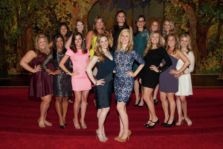 Eryn Golden, Alli Padilla, Jenny Tea, Gina Berkson, Stacie Valocchi, Annie Benisch, Elizabeth Sgarrella, Kelly Christian, Cambria Steel, Adriana Aro, Liberty Kikerpill, Heidi Berger and Tessa Whittaker at the Spinsters of San Francisco Annual Patrons Reception on April 14, 2014. Photo: Drew Altizer, Drew Altizer Photography