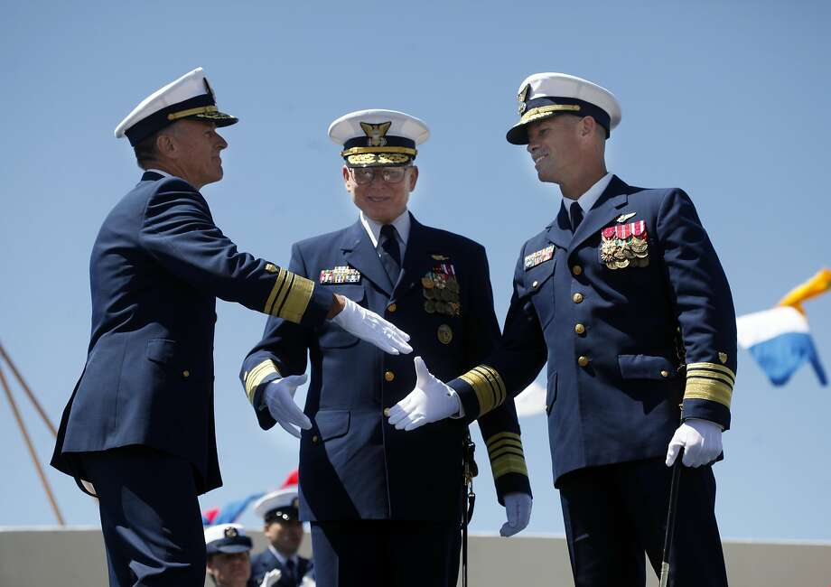 Vice Adm. Paul Zukunft (from left); the man he'll replace, Commandant Robert Papp; and Vice Adm. Charles Ray. Photo: Lacy Atkins, SFC