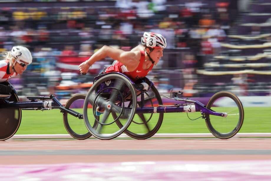 Tatyana McFadden of Maryland won three gold medals and a bronze in wheelchair racing at the London 2012 Paralympics. Photo: Joe Kusumoto, Joe Kusumoto Photography
