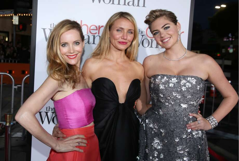 "Leslie Mann and from left, Cameron Diaz and Kate Upton arrive at the Los Angeles premiere of ""The Other Woman"" at the Regency Village Westwood on Monday, April 21, 2014. Photo: Matt Sayles, Associated Press"