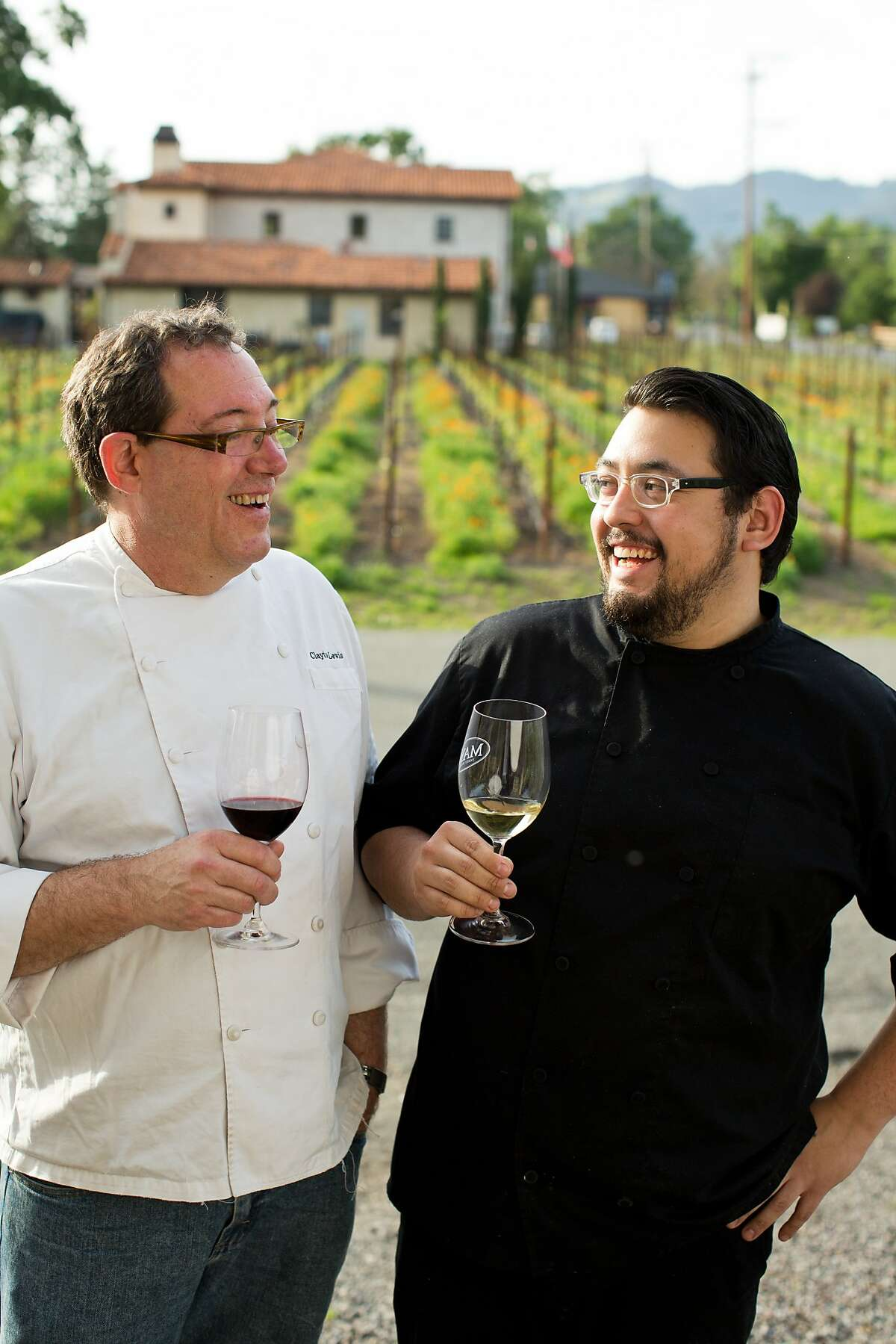 Executive Chef J. Clayton Lewis, right, and sous chef Edwin Porcayo at Mayo Reserve Room in Kenwood, Calif., Monday, April 14, 2014.