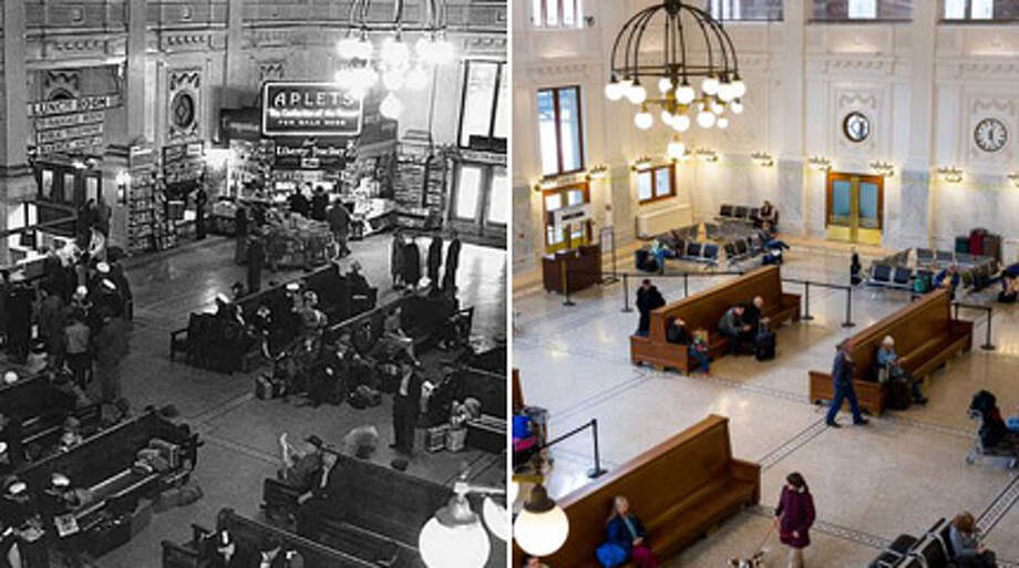 Seattle's King Street Station showed off its historic, meticulously restored lobby on April 24, 2013, the final result of a years-long, $55-million remodel. Here's a look through the years at the federally listed historic landmark.  Photo: MOHAI; Jordan Stead / Seattlepi.com