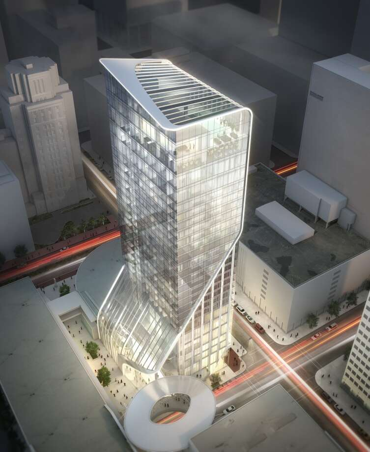 This rendering shows the proposed Hotel Alessandra downtown. Plans call for the 225-room hotel to be built in the GreenStreet retail-office cluster formerly known as the Houston Pavilions ahead of Houston's Super Bowl. Photo: Gensler