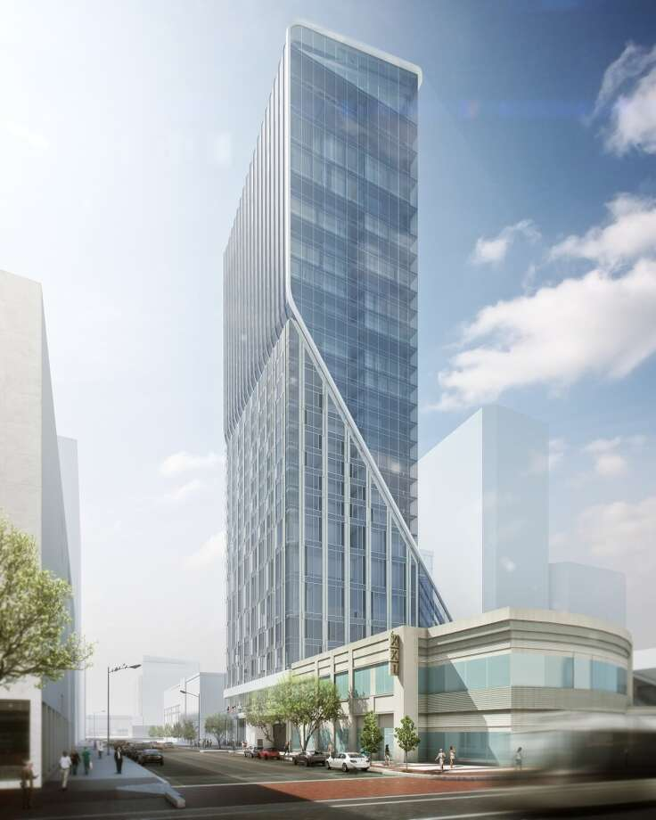 This rendering shows the proposed Hotel Alessandra downtown. Plans call for the 225-room hotel to be built in the GreenStreet retail-office cluster formerly known as the Houston Pavilions ahead of Houston's Super Bowl. Photo: Courtesy Of Gensler