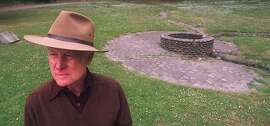 """AUTHOR HAROLD """" HAL """" GILLIAM STANDS AT THE EL POLIN SPRINGS IN THE PRESIDIO"""