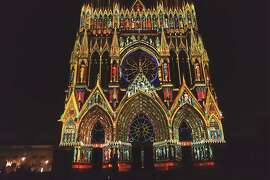 A sound-and-light show in Reims shows how the facade of the cathedral might have looked when it was painted in the 13th century