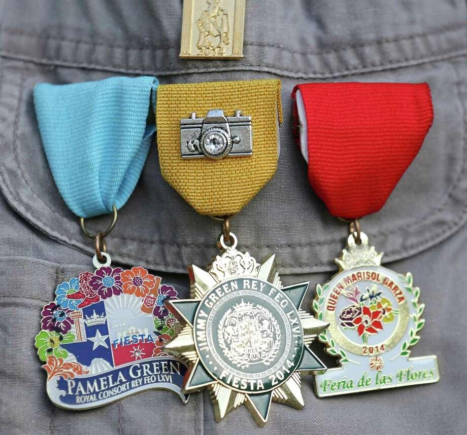 Detail photo of Charlie Elizalde's medals Monday April 21, 2014. Photo: Edward A. Ornelas, San Antonio Express-News / © 2014 San Antonio Express-News