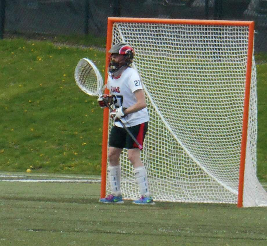 New Canaan goalie Nathalie Deney stands in against Brien McMahon during the Rams' 20-1 victory over the Senators on Tuesday, April 22 at New Canaan High School. Photo: Contributed Photo, Contributed / New Canaan News Contributed