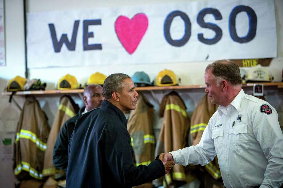 President Barack Obama visits the Oso Fire Station where he greeted and spoke with rescuers near the scene of last month's deadly Oso mudslide. Photo: JOSHUA TRUJILLO, SEATTLEPI.COM / SEATTLEPI.COM