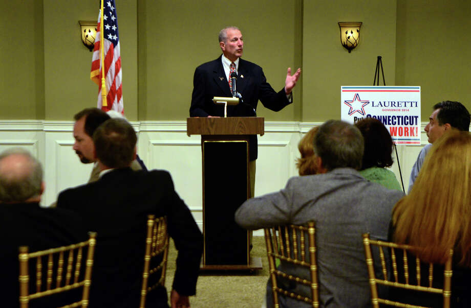 Shelton Mayor Mark Lauretti makes a stump speech as candidate for governor, at Vazzano's Four Seasons in Stratford, Conn. on Tuesday April 22, 2014. Photo: Christian Abraham / Connecticut Post