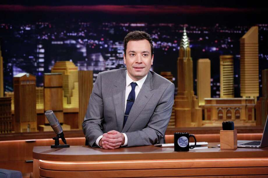 """In this photo provided by NBC, Jimmy Fallon appears during his """"The Tonight Show"""" debut on Monday, Feb. 17, 2014, in New York. Fallon departed from the network's ?Late Night? on Feb. 7, 2014, after five years as host, and is now the host of ?The Tonight Show,? replacing Jay Leno after 22 years. (AP Photo/NBC, Lloyd Bishop) Photo: Lloyd Bishop, HOEP / NBC"""