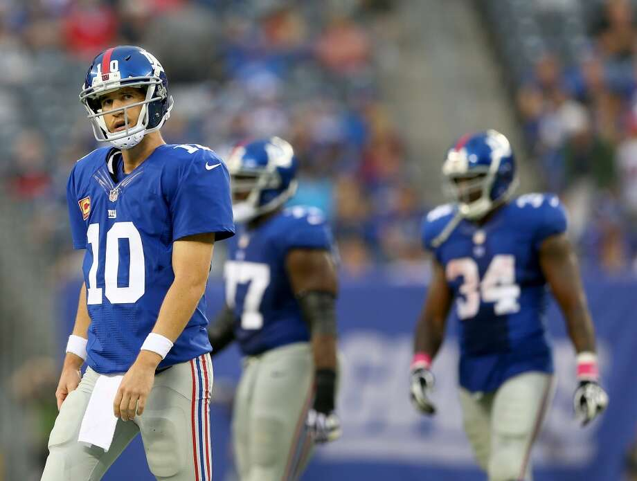 9. New York Giants631,100 average monthly player searches  Top five players:QB Eli Manning (246,000)WR Victor Cruz (135,000)FS Will Hill (90,500)CB Dominique Rodgers-Cromartie (18,100)RB Rashad Jennings (18,100) Photo: Elsa, Getty Images