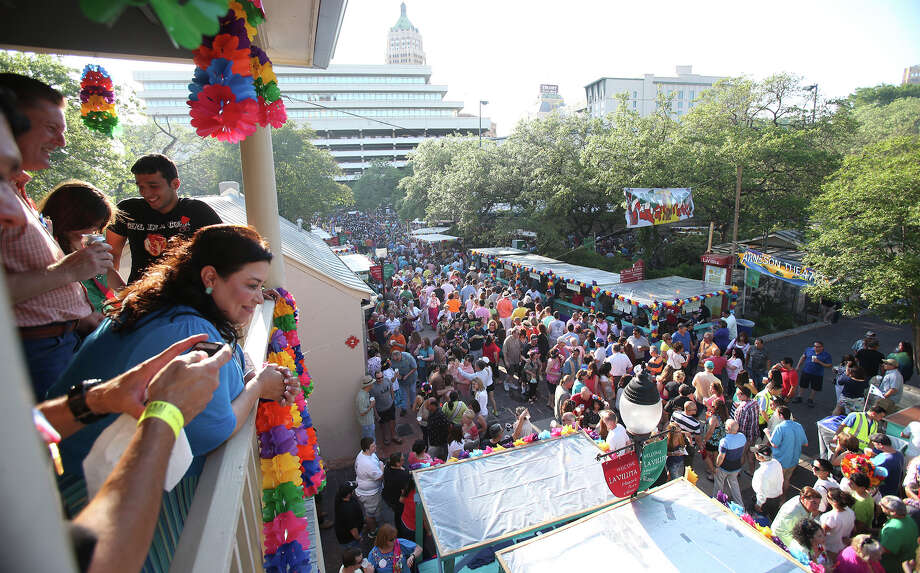 Spectators watch from a balcony as NIOSA kicks off on April 22, 2014. Photo: TOM REEL