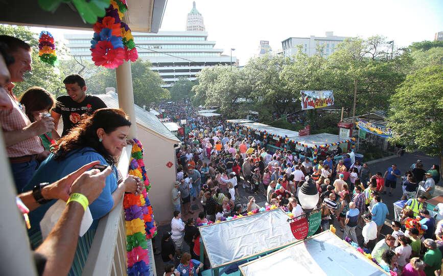 Spectators watch from a balcony as NIOSA kicks off on