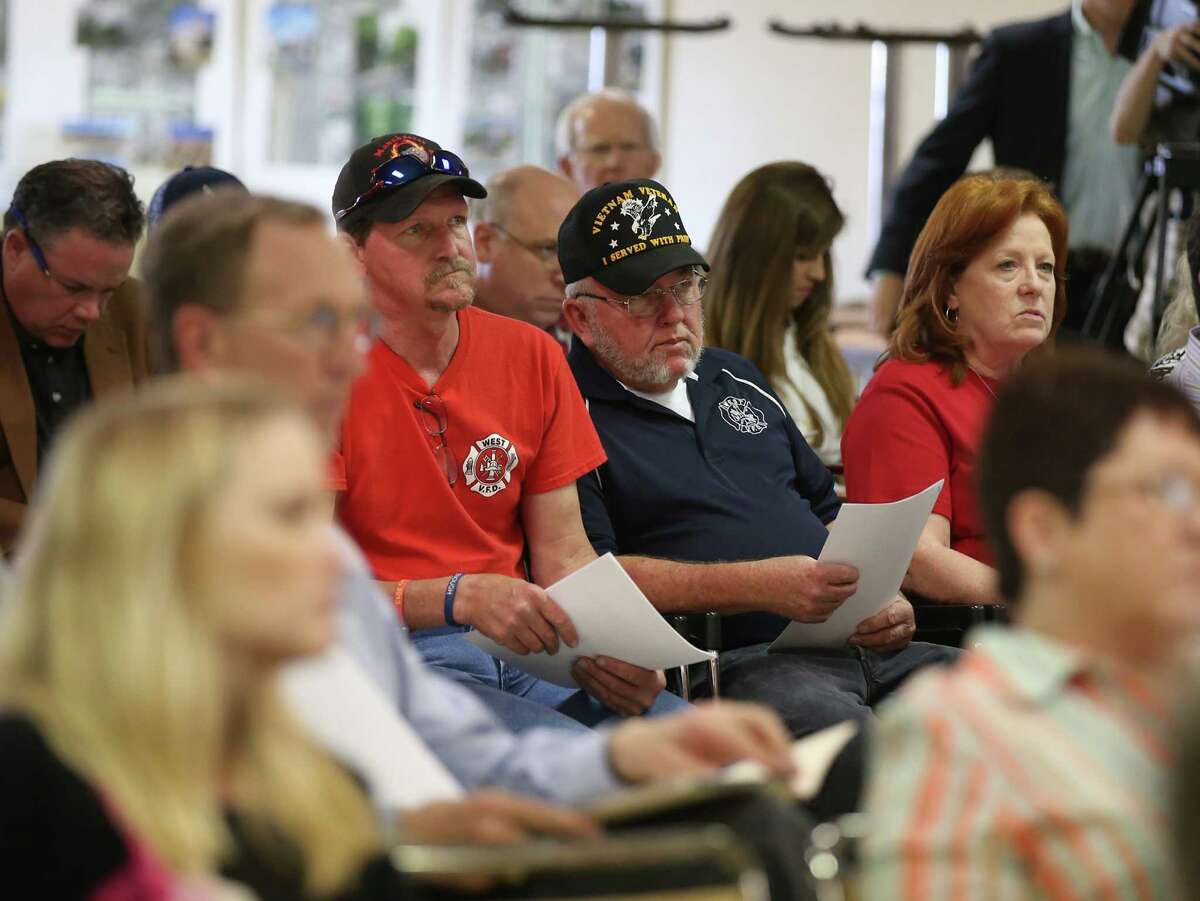 More than 150 residents - some wearing the red shirts of West's all-volunteer fire department - attended the hearing Tuesday.