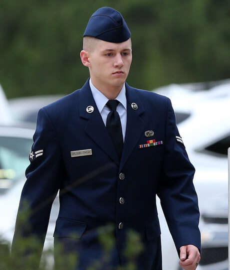 Airman 1st Class Nathan G. Wilson-Crow, 22, an award-winning military photographer, arrives for his trial at Joint Base San Antonio-                   Lackland. He is facing 11 counts of rape, indecent exposure, improper sexual contact and providing alcohol to a minor. He is accused of raping a woman on two occasions last summer. Photo: Jerry Lara / San Antonio Express-News / © 2014 San Antonio Express-News