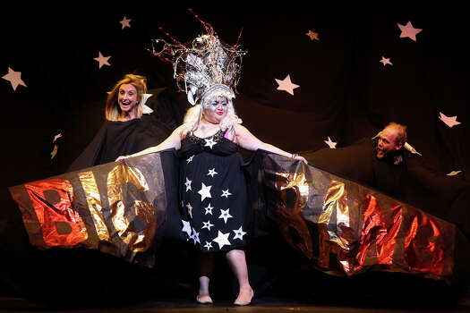"Renee Garvens, from left, Loray Romano and Chris Sauter perform in the skit designed by Sauter, ""The Fundamentalist Funhouse,"" during Cornyation at the Charline McCombs Empire Theatre in San Antonio on Tuesday, April 22, 2014. Photo: Lisa Krantz, SAN ANTONIO EXPRESS-NEWS / SAN ANTONIO EXPRESS-NEWS"