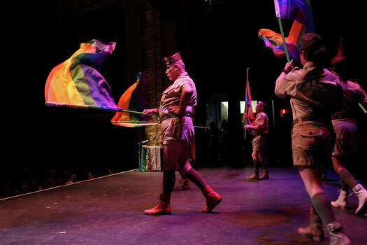 "John McBurney, the designer of the skit, performs in ""The 1st Annual Gay Boy Scout Jamboree Extravaganza"" during Cornyation at the Charline McCombs Empire Theatre in San Antonio on Tuesday, April 22, 2014. Photo: Lisa Krantz, SAN ANTONIO EXPRESS-NEWS / SAN ANTONIO EXPRESS-NEWS"