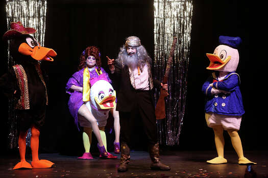 "Marcus S. Rosales, from left, Sheila Currie, Kareem Dahab, as Phil from Duck Dynasty, and Annele Spector perform in ""What the Duck?"" at Cornyation at the Charline McCombs Empire Theatre in San Antonio on Tuesday, April 22, 2014. Photo: Lisa Krantz, SAN ANTONIO EXPRESS-NEWS / SAN ANTONIO EXPRESS-NEWS"