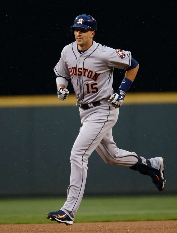 Jason Castro #15 of the Astros rounds the bases after hitting a two-run home run. Photo: Otto Greule Jr, Getty Images
