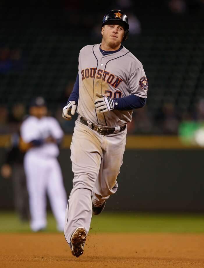 Matt Dominguez #30 of the Astros rounds the bases after hitting a home run. Photo: Otto Greule Jr, Getty Images