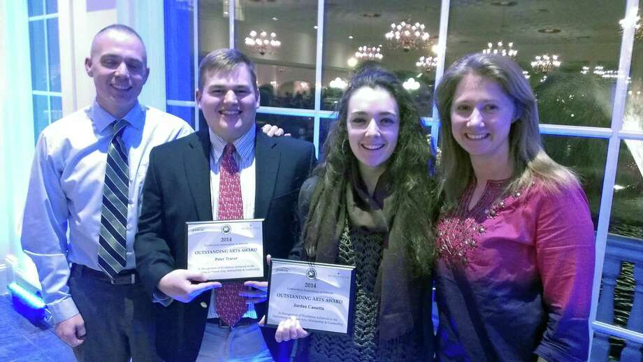 Two students from Darien High School were recently honored at the Connecticut High School Arts Awards banquet. Jordan Cassetta, second from right, was honored for visual arts and Peter Traver, second from left, for music/performing arts. With them are Director of Bands Jonathan Grauer and DHS art teacher Jaclyn Sammis. Photo: Contributed Photo, Contributed / Darien News