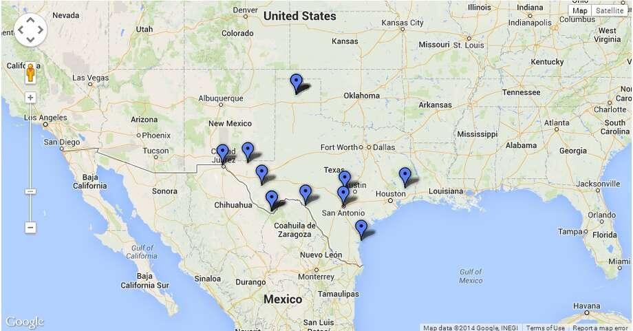 Map of Texas' 12 national parks. Photo: Kolten Parker
