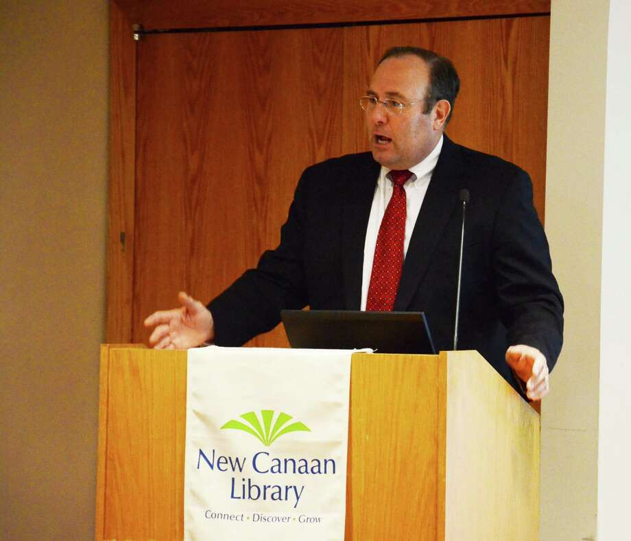 Paul Zohorsky, vice president of gas operations at Northeast Utilities, Yankee Gasí parent company, speaks at a forum on natural gas at the New Canaan Library in New Canaan, Conn., on Monday, April 21, 2014. Photo: Nelson Oliveira / New Canaan News
