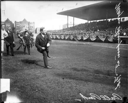 Chicago Mayor William Hale Thompson throwing first pitch at a Chicago Whales baseball game at Weeghman Park, Chicago, Illinois, 1915. Weeghman Park was renamed Wrigley Field in 1927. (Photo by Chicago History Museum/Getty Images) Photo: Chicago History Museum, Getty Images