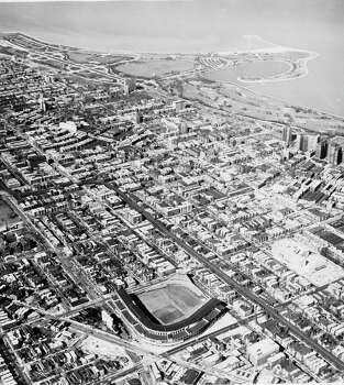 Aerial view of Wrigley Field and surrounding areas, Chicago, Illinois, April 26, 1951. (Photo by Calvin C. Oleson/Chicago History Museum/Getty Images) Photo: Chicago History Museum, Getty Images / Archive Photos