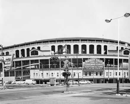 Exterior view of Wrigley Field located at Addison Street and Clark Street, Chicago, Illinois, May 10, 1961. (Photo by John Spiro/Chicago History Museum/Getty Images) Photo: Chicago History Museum, Getty Images