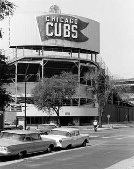 Exterior view of Wrigley Field near Sheffield Avenue and Waveland Avenue, Chicago, Illinois, July 15, 1964. (Photo by F. S. Dauwalter/Chicago History Museum/Getty Images) Photo: Chicago History Museum, Getty Images / Archive Photos